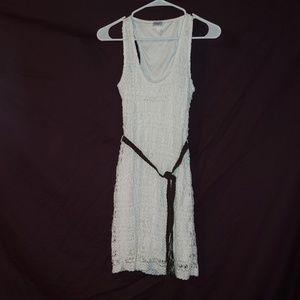 White crochet dress with tassel belt